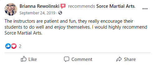 Testimonial For Home Page, Sorce Martial Arts in South Milwaukee